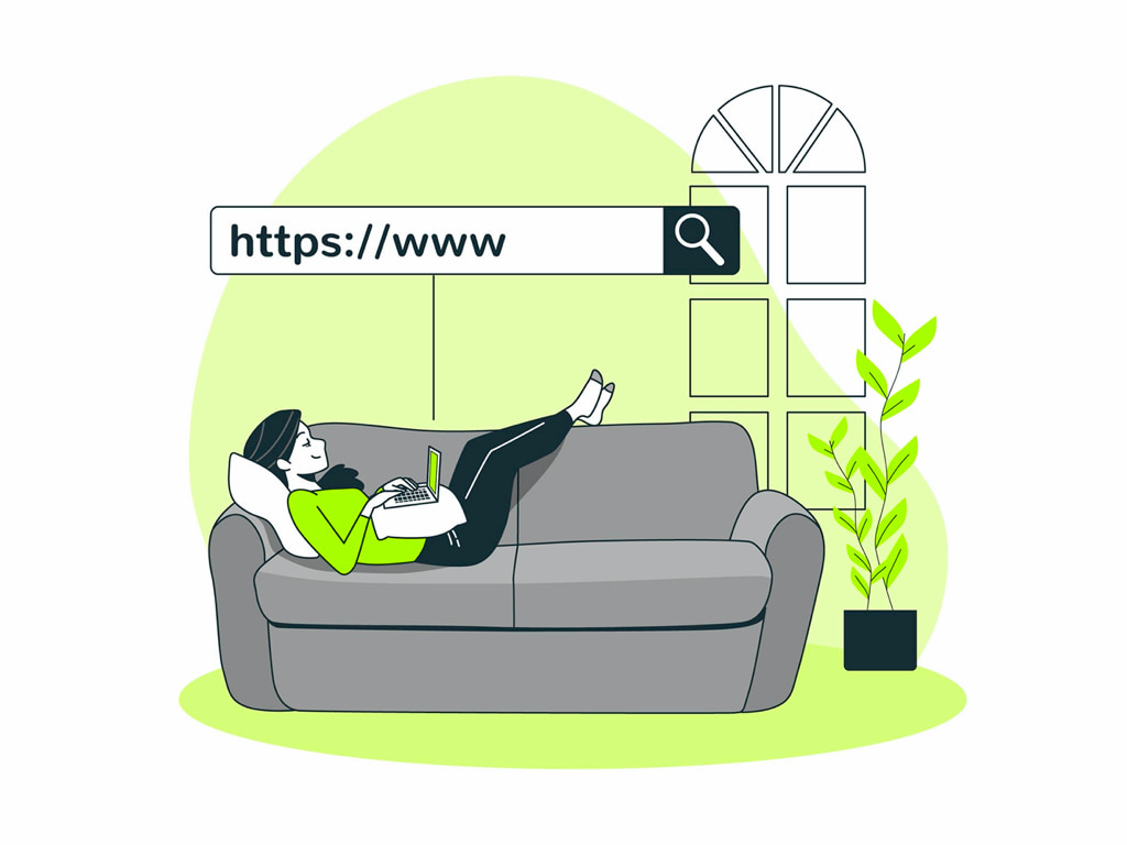 ソファに寝そべってネットサーフィンする人